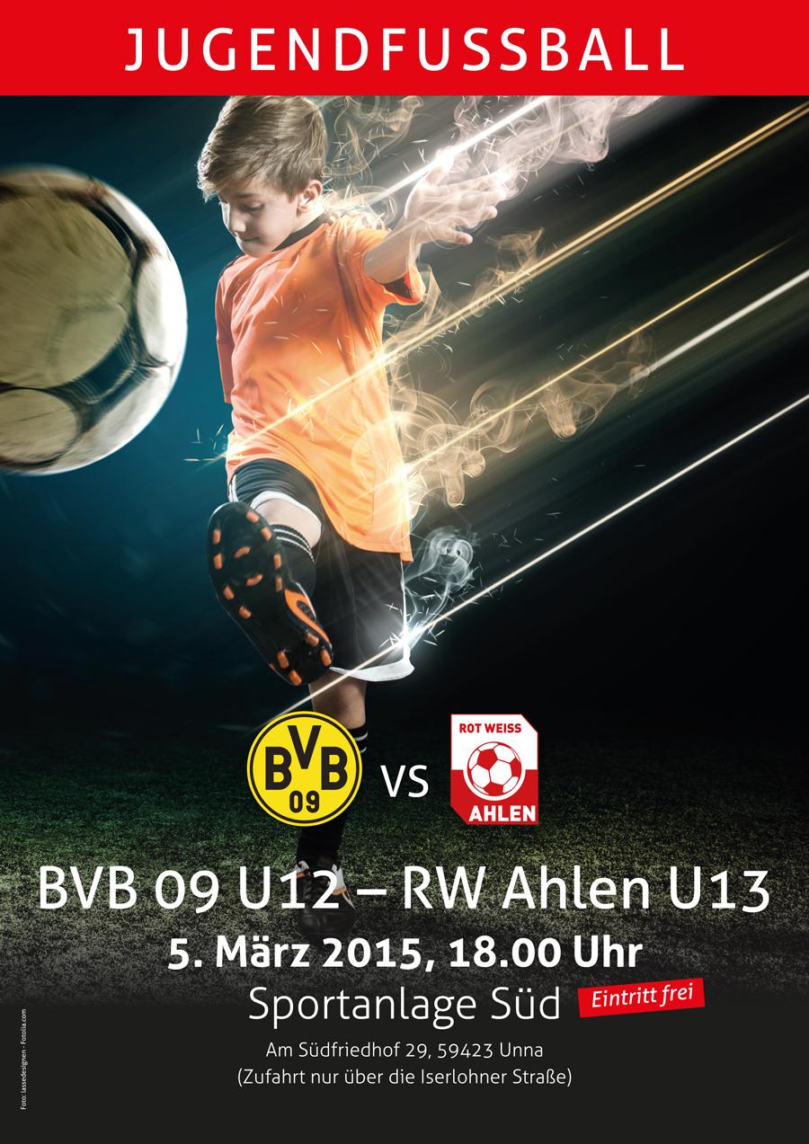 Plakat zum Spiel BVB U12 gegen RW Ahlen U13 in Unna.