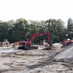 Bauarbeiten für die Erstellung der Parkplätze.