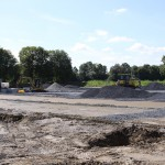 Auch beim Großfeld gegen die Bauarbeiten zügig voran.