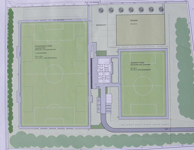 Plan der zukünftigen Sportanlage in Unna-Süd