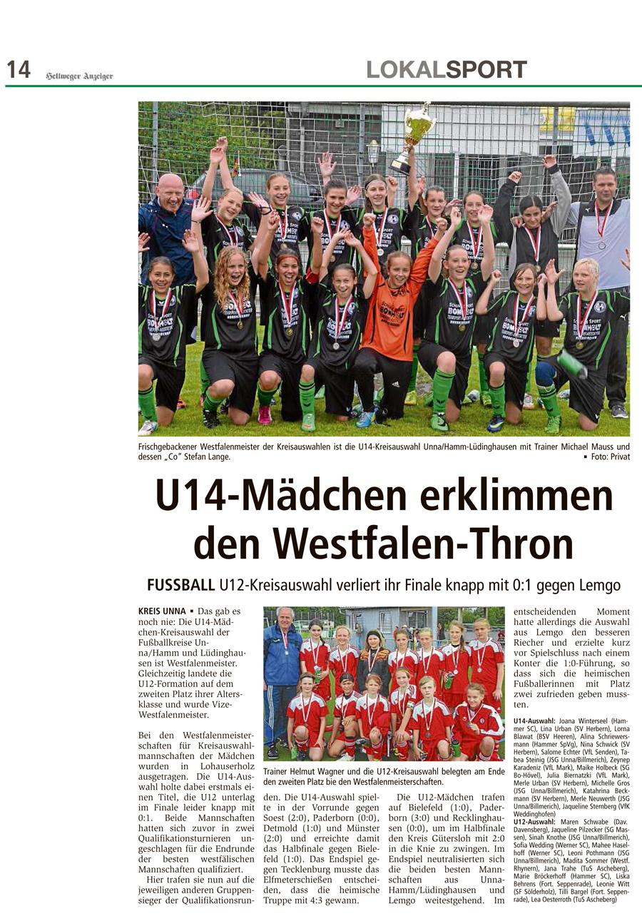 Bericht Hellweger Anzeiger vom 02.07.2014
